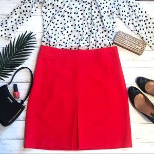 LOFT Red Orange Pocket Box Pleat ALine Skirt